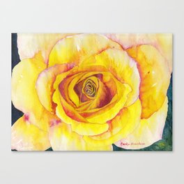 Yellow Rose Watercolor Canvas Print