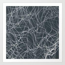 FYKE white string design on dark teal grey background Art Print