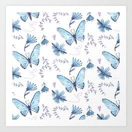 The Butterfly Effect - Blue Art Print