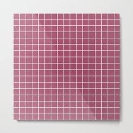 China rose - violet color - White Lines Grid Pattern Metal Print