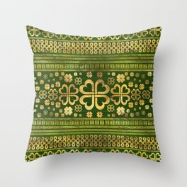 Shamrock Four-leaf Clover Green Wood and Gold Throw Pillow