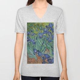 Irises, Vincent Van Gogh Unisex V-Neck