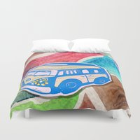 vw bus Duvet Covers featuring VW Bus Campervan by Carrie at Dendryad Art