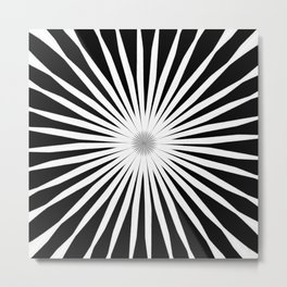 Starburst Black and White Pattern Metal Print