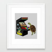 ninja turtle Framed Art Prints featuring Arcade Ninja Turtle by Michowl