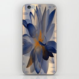 Midnight Blue Polka Dot Floral Abstract iPhone Skin