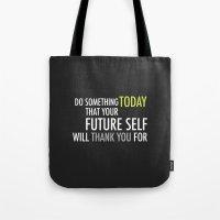 future Tote Bags featuring Future by Christina Kouli | ilprogetto