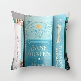 Shelfie in Aqua Throw Pillow