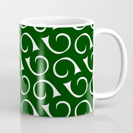 Swirls Forest Green and White Coffee Mug