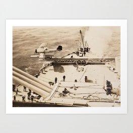 Floatplane Launch from Battleship - USS Pennsylvania Art Print