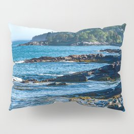 Costal Vibes // Northeastern Maine Rocks and Ocean Photograph Pillow Sham