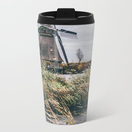 Kinderdijk Windmill Metal Travel Mug