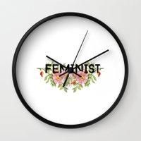 feminist Wall Clocks featuring FEMINIST by amyskhaleesi