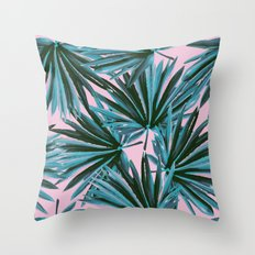 Tropical Palm Leaves in Botanical Green + Pink Throw Pillow