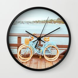 Two retro bicycles standing on Santa Barbara pier, California, USA. Vintage filter with muted teal blue and orange colors. Wall Clock