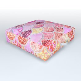Rosegold & Gold Trendy Glitter Mermaid Scales Outdoor Floor Cushion