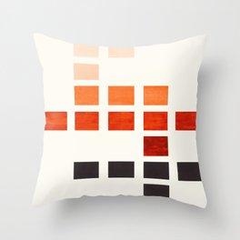 Colorful, Burnt Sienna, Mid Century, Modern, Minimalist, Square, Geometric, Pattern Throw Pillow