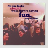 amy poehler Canvas Prints featuring Amy Poehler Typography by Pri-Prianna