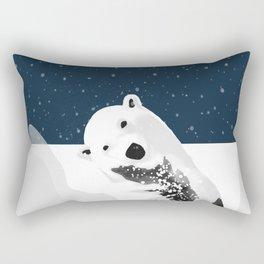 Unique Polar Bear Scene Rectangular Pillow