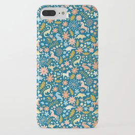 Dinosaurs + Unicorns in Blue + Coral iPhone Case