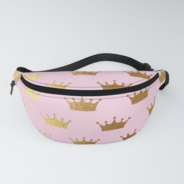 Gold Glitter effect crowns on pink - Royal Pattern for Princesses Fanny Pack