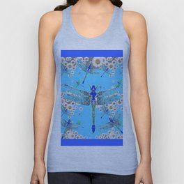 BLUE DRAGONFLIES LILAC WHITE DAISY FLOWERS  ART Unisex Tank Top
