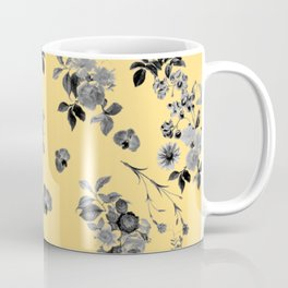 Black and White Floral on Yellow Coffee Mug