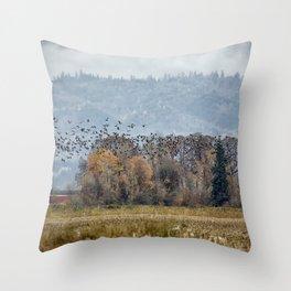 Flock of Geese in Flight Throw Pillow