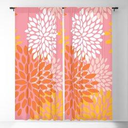 Summer Bright Floral Pattern, Pink, Yellow, Orange Blackout Curtain