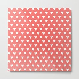 Coral White Hearts Pattern Metal Print