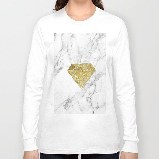 Gold diamond on marble Long Sleeve T-shirt