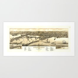 Aerial View of Duluth, Minnesota (1883) Art Print