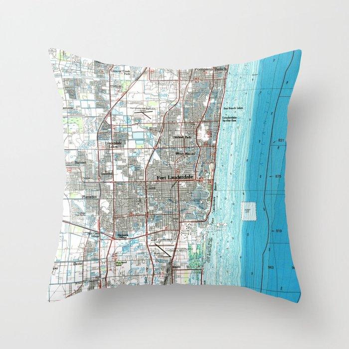 Lauderdale Florida Map.Fort Lauderdale Florida Map 1985 Throw Pillow By Bravuramedia