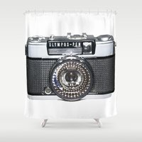 pen Shower Curtains featuring OLYMPUS-PEN by Regan's World