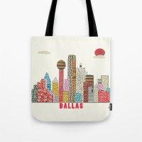 dallas Tote Bags featuring dallas skyline  by bri.buckley