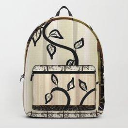 Climbing Black Vine over Metallic Trellis (Blonde Wood Background) Backpack