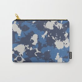 Retro Wash Blue and Grey Paint Splatter Carry-All Pouch