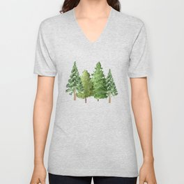 Christmas Pine Trees Unisex V-Neck