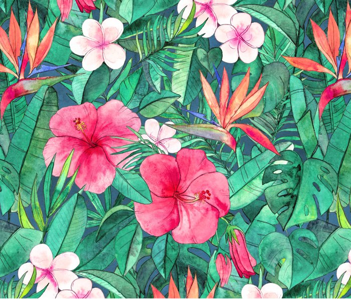 Classic Tropical Garden with Pink Flowers Metal Travel Mug