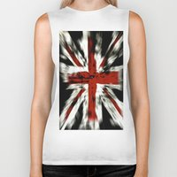 uk Biker Tanks featuring UK Flag by WonderfulDreamPicture