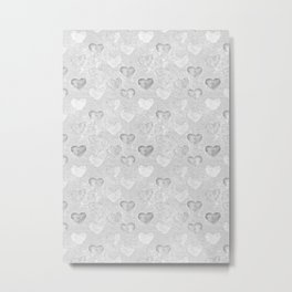 Gray And White Hearts Pattern Metal Print