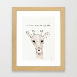 darryl giraffe Framed Art Print