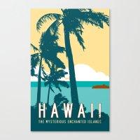 travel poster Canvas Prints featuring Hawaii Travel Poster by Michael Jon Watt