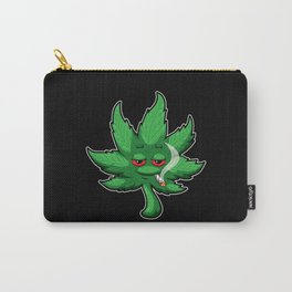 Cannabis Leaf With Red Eyes Smokes Weed - THC CBD Carry-All Pouch