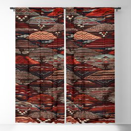 Mixed Old Colors traditional Moroccan Berber Artwork, old School Art Style. Blackout Curtain