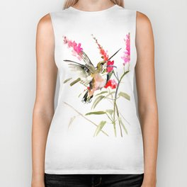 Hummingbird and Pink Flowers, sage green, olive green pink Biker Tank