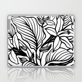 White And Black Floral Minimalist Laptop & iPad Skin
