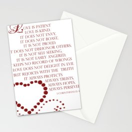 Love is patient love is kind 1 Corinthians 13: 4-7 Stationery Cards