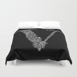 Cherry Blossom V Black Duvet Cover