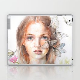 Ginger Girl and Butterflies Watercolor Red Hair Freckles Fantasy Laptop & iPad Skin